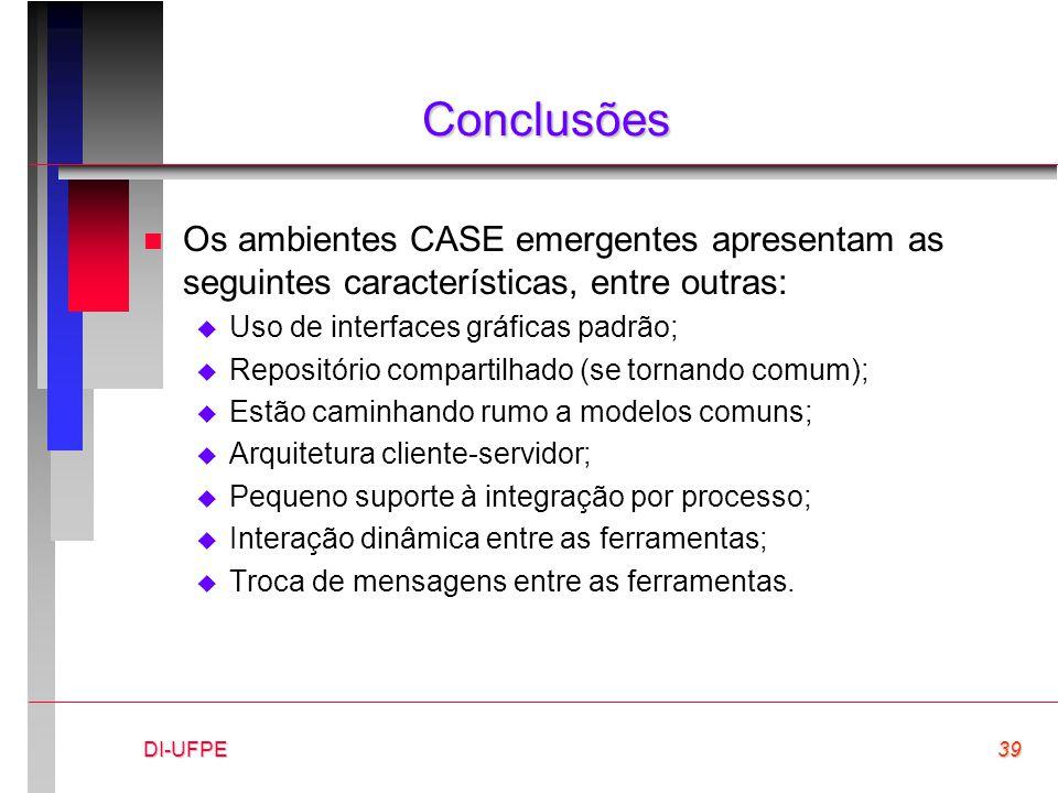 DI-UFPE39 Conclusões n Os ambientes CASE emergentes apresentam as seguintes características, entre outras:  Uso de interfaces gráficas padrão;  Repo