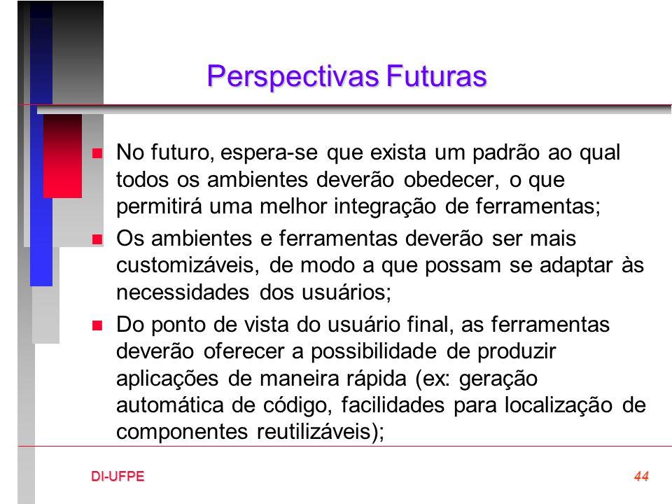 DI-UFPE44DI-UFPE Perspectivas Futuras n No futuro, espera-se que exista um padrão ao qual todos os ambientes deverão obedecer, o que permitirá uma mel