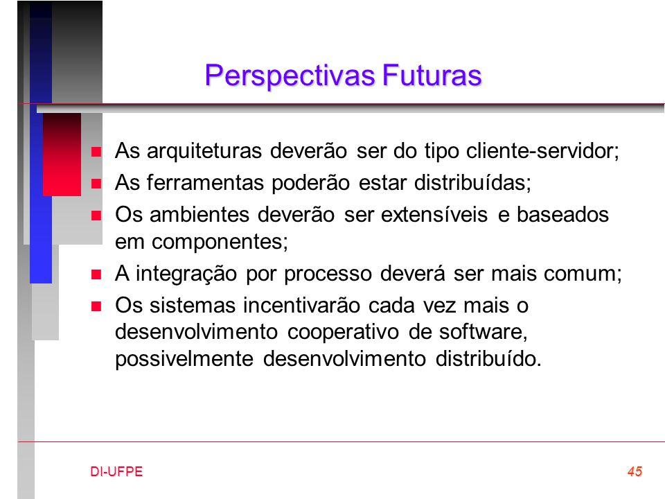 DI-UFPE45 Perspectivas Futuras n As arquiteturas deverão ser do tipo cliente-servidor; n As ferramentas poderão estar distribuídas; n Os ambientes dev