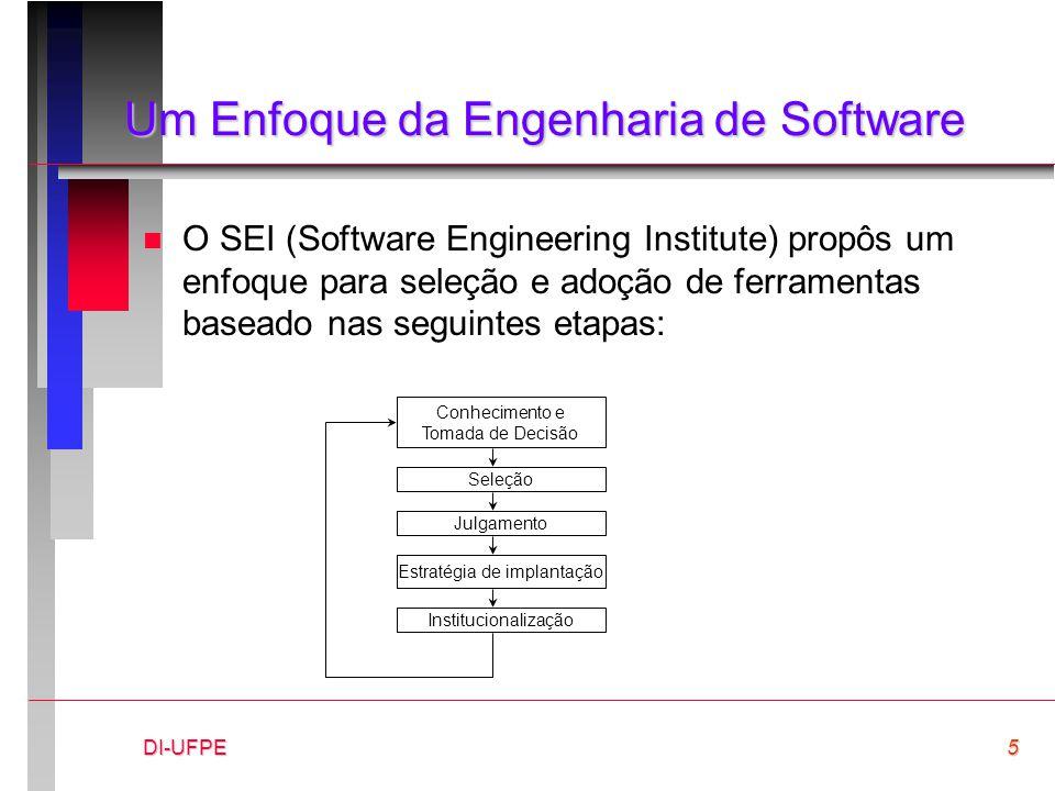 DI-UFPE5 Um Enfoque da Engenharia de Software n O SEI (Software Engineering Institute) propôs um enfoque para seleção e adoção de ferramentas baseado