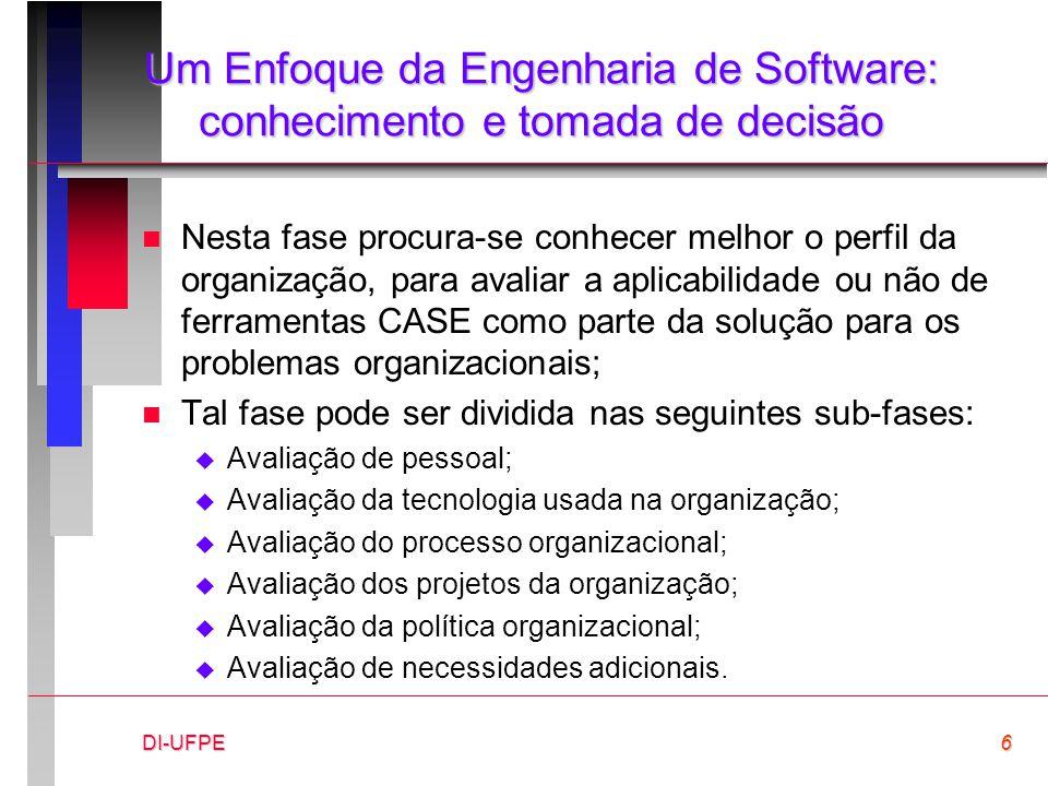 DI-UFPE6 Um Enfoque da Engenharia de Software: conhecimento e tomada de decisão n Nesta fase procura-se conhecer melhor o perfil da organização, para