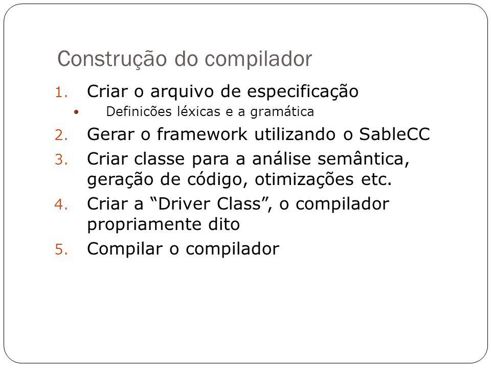 Construção do compilador 1. Criar o arquivo de especificação Definicões léxicas e a gramática 2. Gerar o framework utilizando o SableCC 3. Criar class