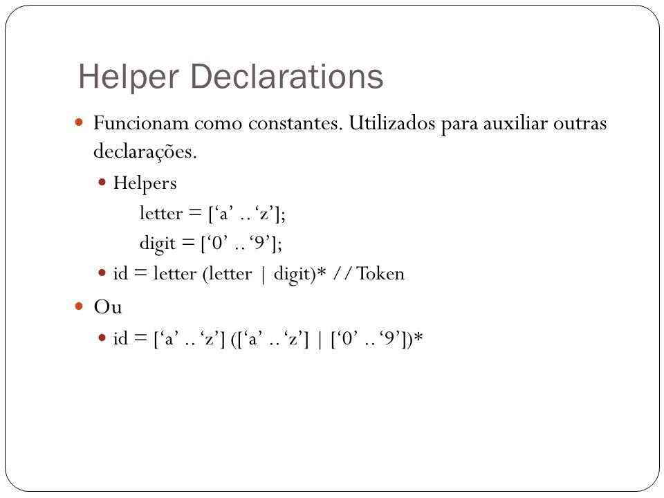 Helper Declarations Funcionam como constantes. Utilizados para auxiliar outras declarações. Helpers letter = ['a'.. 'z']; digit = ['0'.. '9']; id = le