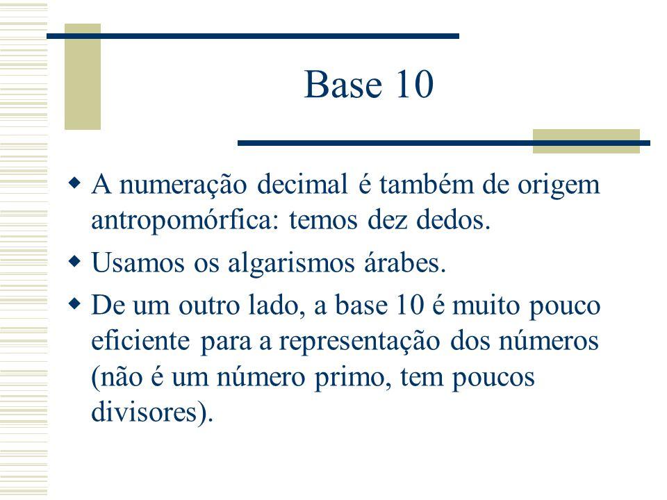 Base 10  A numeração decimal é também de origem antropomórfica: temos dez dedos.  Usamos os algarismos árabes.  De um outro lado, a base 10 é muito