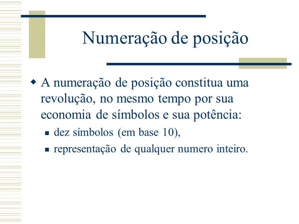 Numeração de posição  A numeração de posição constitua uma revolução, no mesmo tempo por sua economia de símbolos e sua potência: dez símbolos (em ba