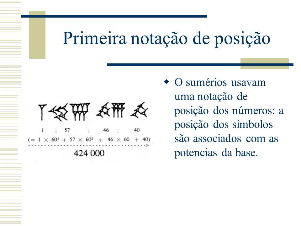 Primeira notação de posição  O sumérios usavam uma notação de posição dos números: a posição dos símbolos são associados com as potencias da base.