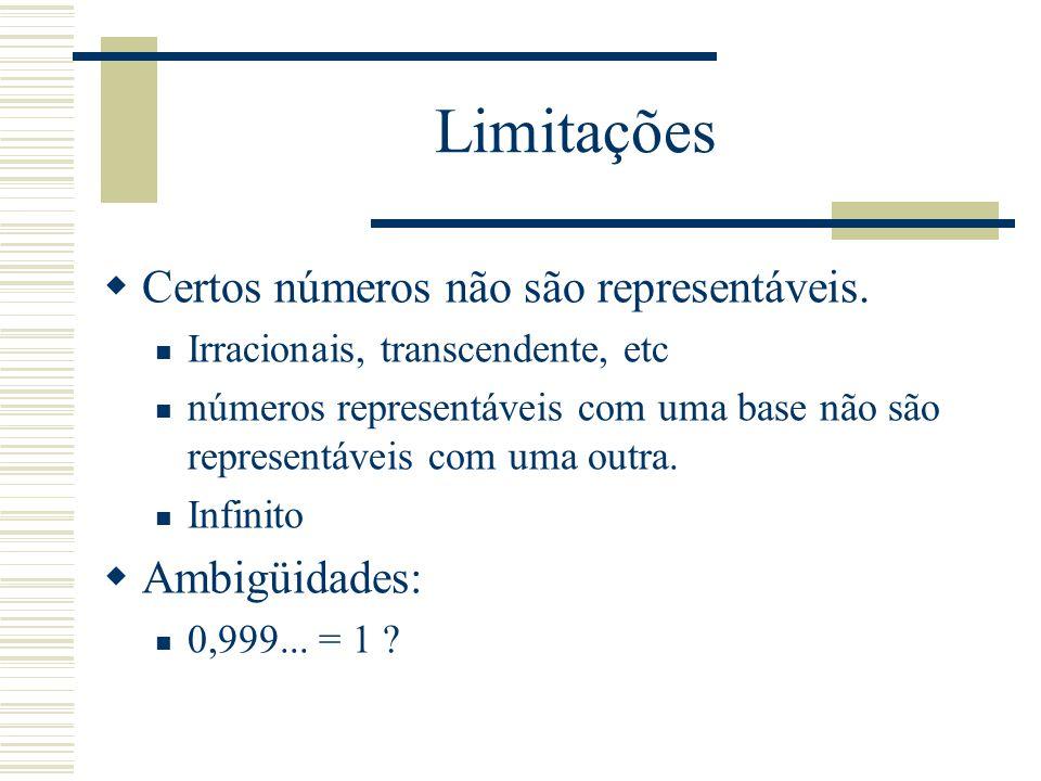 Limitações  Certos números não são representáveis. Irracionais, transcendente, etc números representáveis com uma base não são representáveis com uma