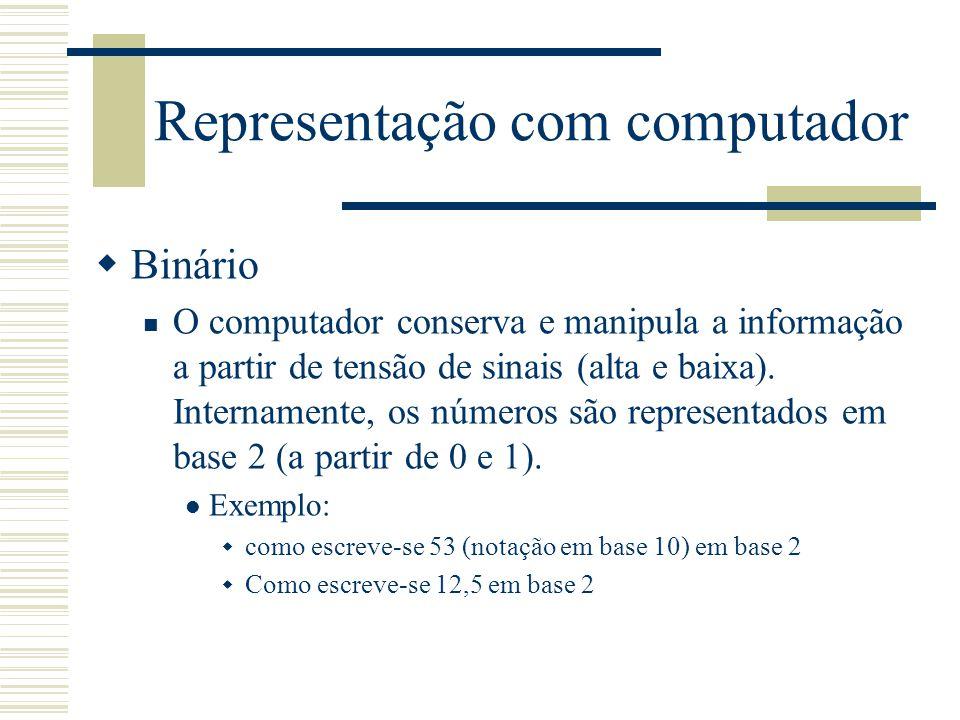 Representação com computador  Binário O computador conserva e manipula a informação a partir de tensão de sinais (alta e baixa). Internamente, os núm