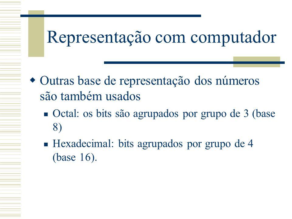 Representação com computador  Outras base de representação dos números são também usados Octal: os bits são agrupados por grupo de 3 (base 8) Hexadec
