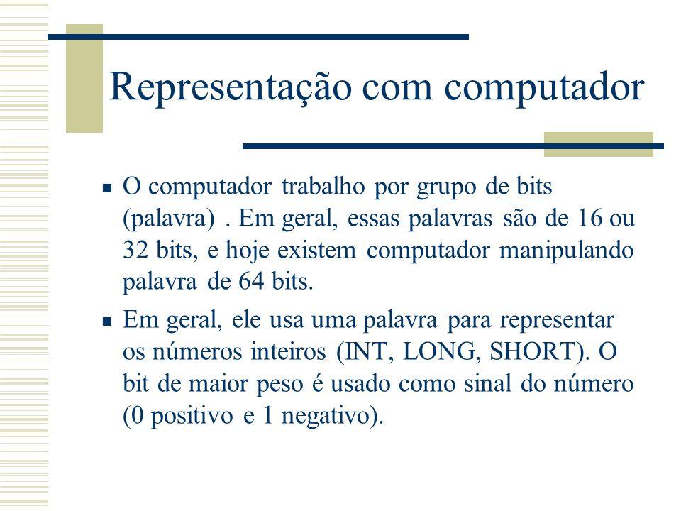 Representação com computador O computador trabalho por grupo de bits (palavra). Em geral, essas palavras são de 16 ou 32 bits, e hoje existem computad
