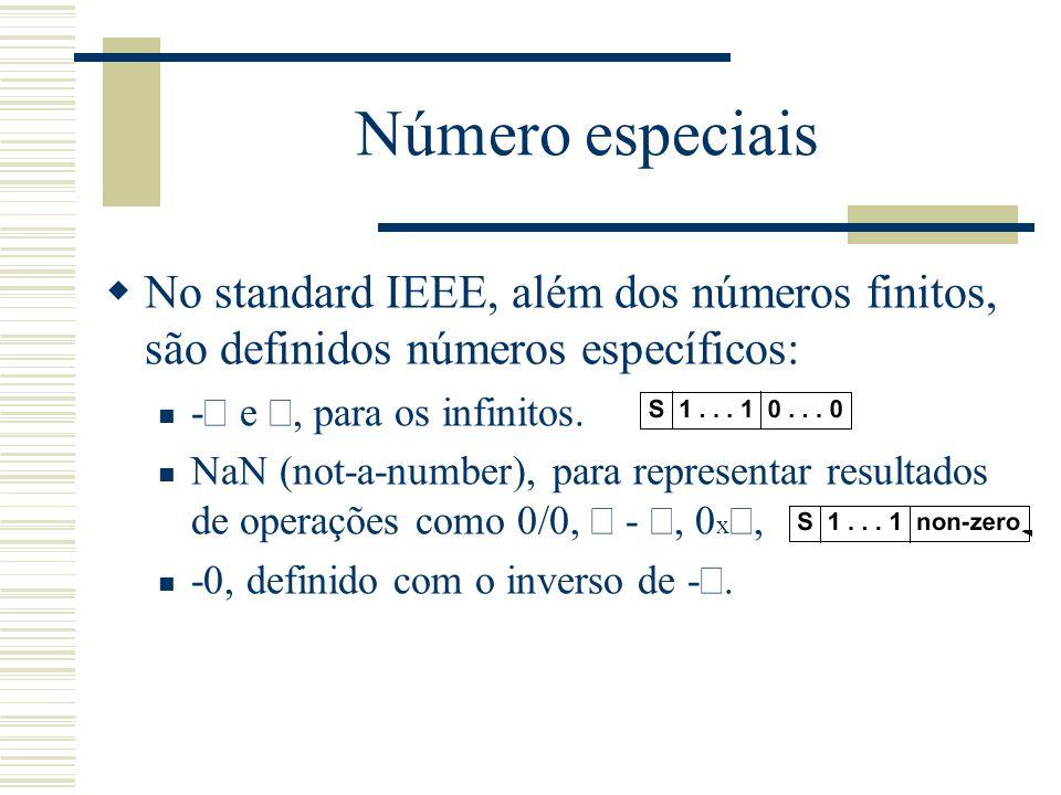 Número especiais  No standard IEEE, além dos números finitos, são definidos números específicos: -  e , para os infinitos. NaN (not-a-number), para