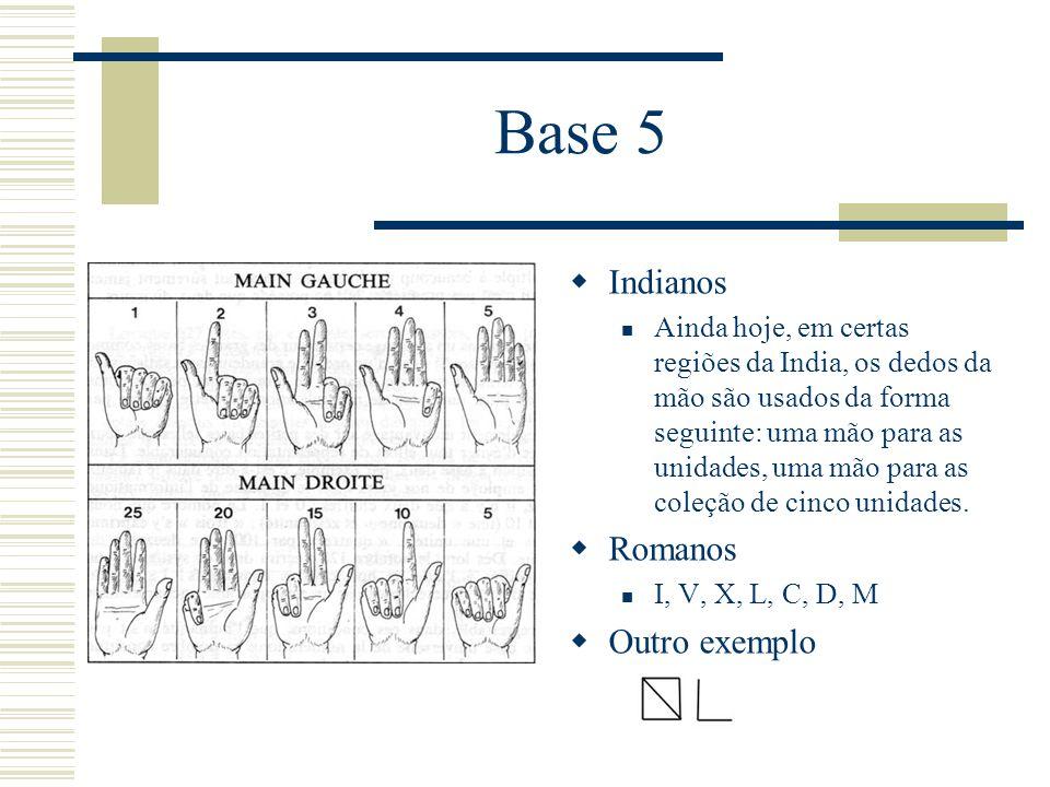 Base 5  Indianos Ainda hoje, em certas regiões da India, os dedos da mão são usados da forma seguinte: uma mão para as unidades, uma mão para as cole