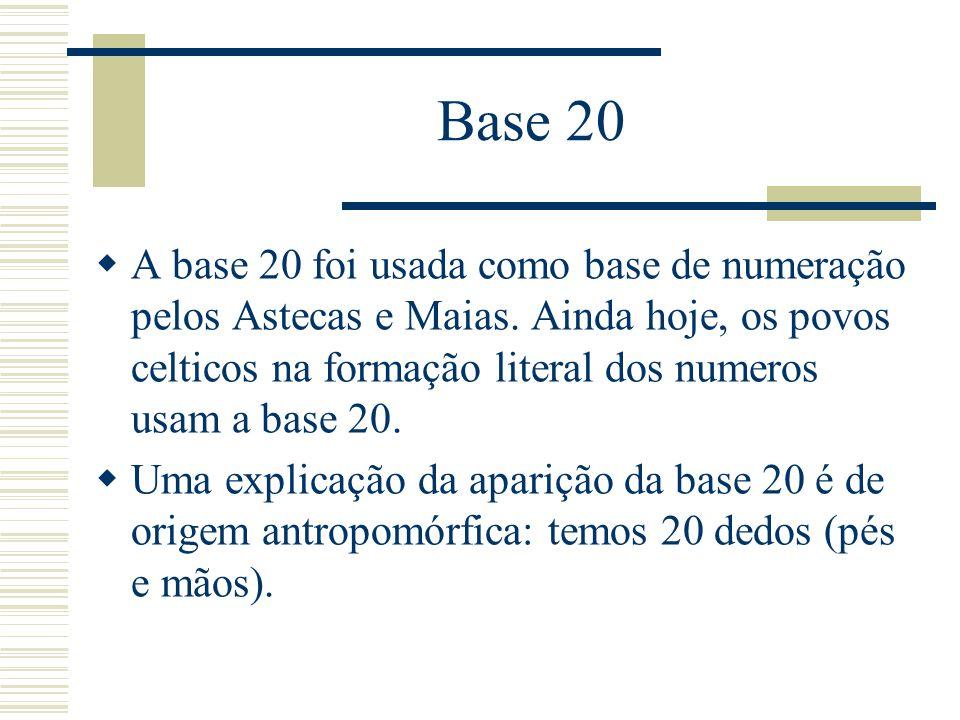Base 20  A base 20 foi usada como base de numeração pelos Astecas e Maias. Ainda hoje, os povos celticos na formação literal dos numeros usam a base