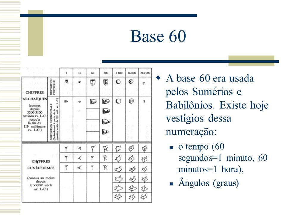 Base 60  A base 60 era usada pelos Sumérios e Babilônios. Existe hoje vestígios dessa numeração: o tempo (60 segundos=1 minuto, 60 minutos=1 hora), Â
