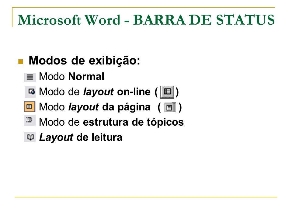 Microsoft Word - BARRA DE STATUS Modos de exibição:  Modo Normal  Modo de layout on-line ( )  Modo layout da página ( )  Modo de estrutura de tópi