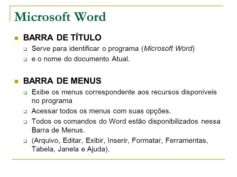 BARRA DE TÍTULO  Serve para identificar o programa (Microsoft Word)  e o nome do documento Atual. BARRA DE MENUS  Exibe os menus correspondente aos