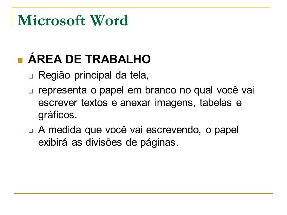 Microsoft Word ÁREA DE TRABALHO  Região principal da tela,  representa o papel em branco no qual você vai escrever textos e anexar imagens, tabelas