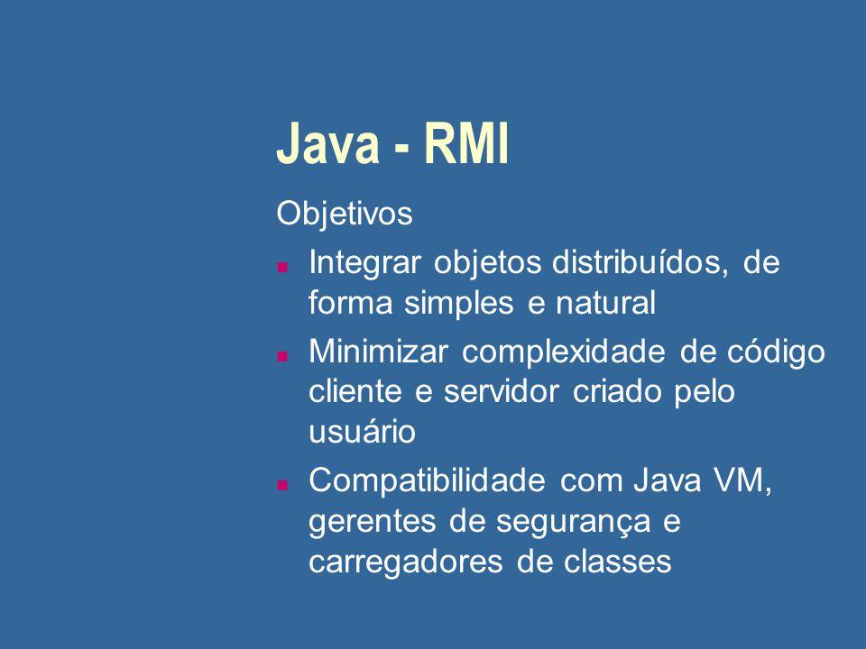 Java - RMI Objetivos n Integrar objetos distribuídos, de forma simples e natural n Minimizar complexidade de código cliente e servidor criado pelo usu