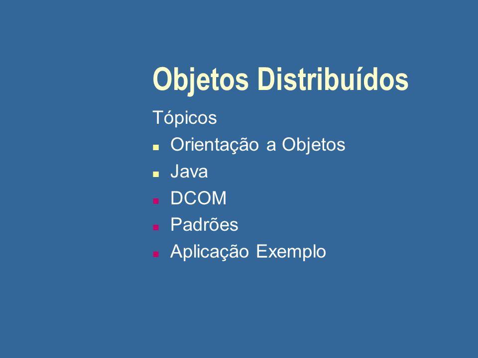 Objetos Distribuídos Tópicos n Orientação a Objetos n Java n DCOM n Padrões n Aplicação Exemplo