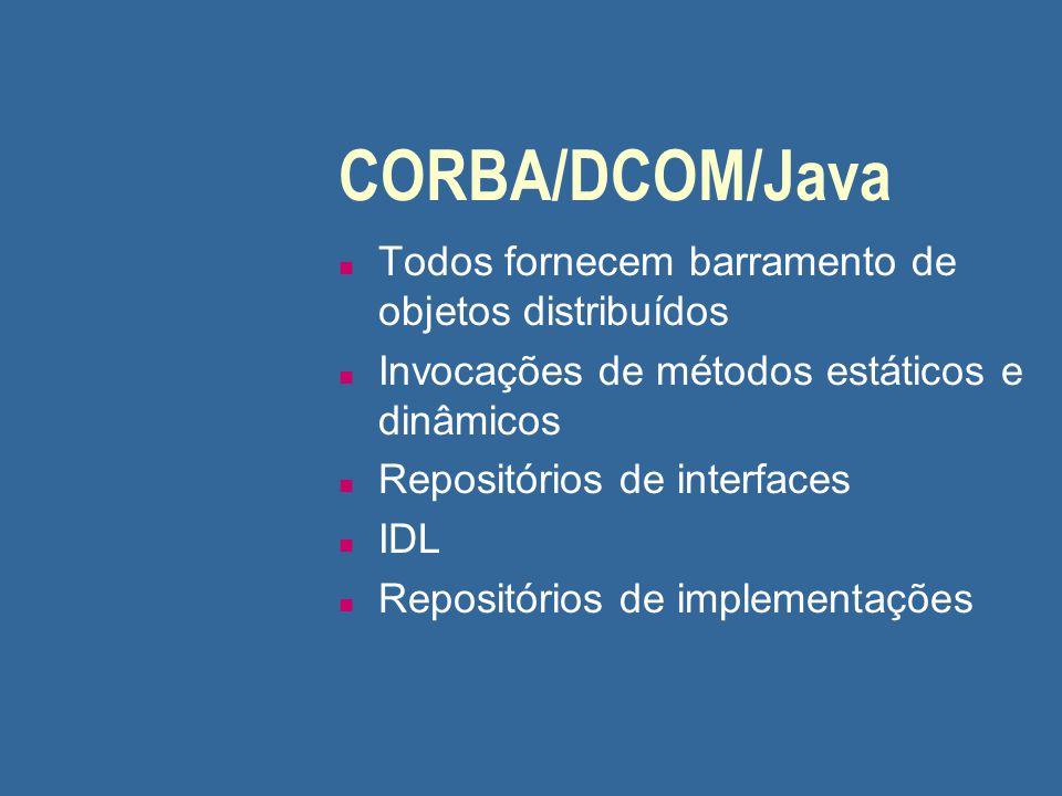 CORBA/DCOM/Java n Todos fornecem barramento de objetos distribuídos n Invocações de métodos estáticos e dinâmicos n Repositórios de interfaces n IDL n