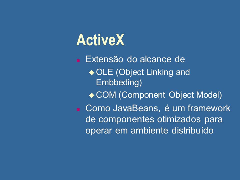 ActiveX n Extensão do alcance de u OLE (Object Linking and Embbeding) u COM (Component Object Model) n Como JavaBeans, é um framework de componentes o