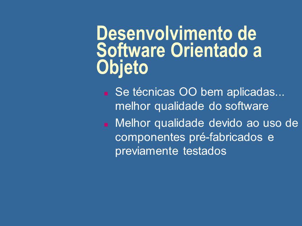 Desenvolvimento de Software Orientado a Objeto n Se técnicas OO bem aplicadas... melhor qualidade do software n Melhor qualidade devido ao uso de comp