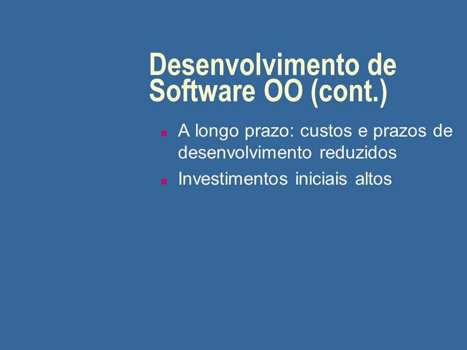 Desenvolvimento de Software OO (cont.) n A longo prazo: custos e prazos de desenvolvimento reduzidos n Investimentos iniciais altos