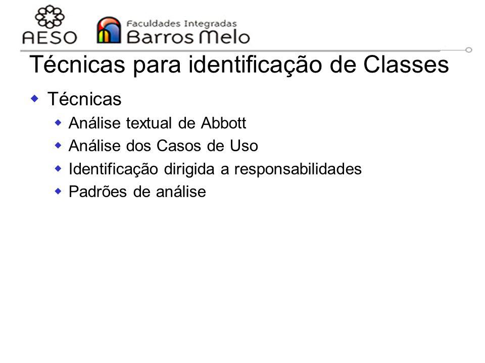 15/8/2014Engenharia de software orientada a objetos 104  Técnicas  Análise textual de Abbott  Análise dos Casos de Uso  Identificação dirigida a r