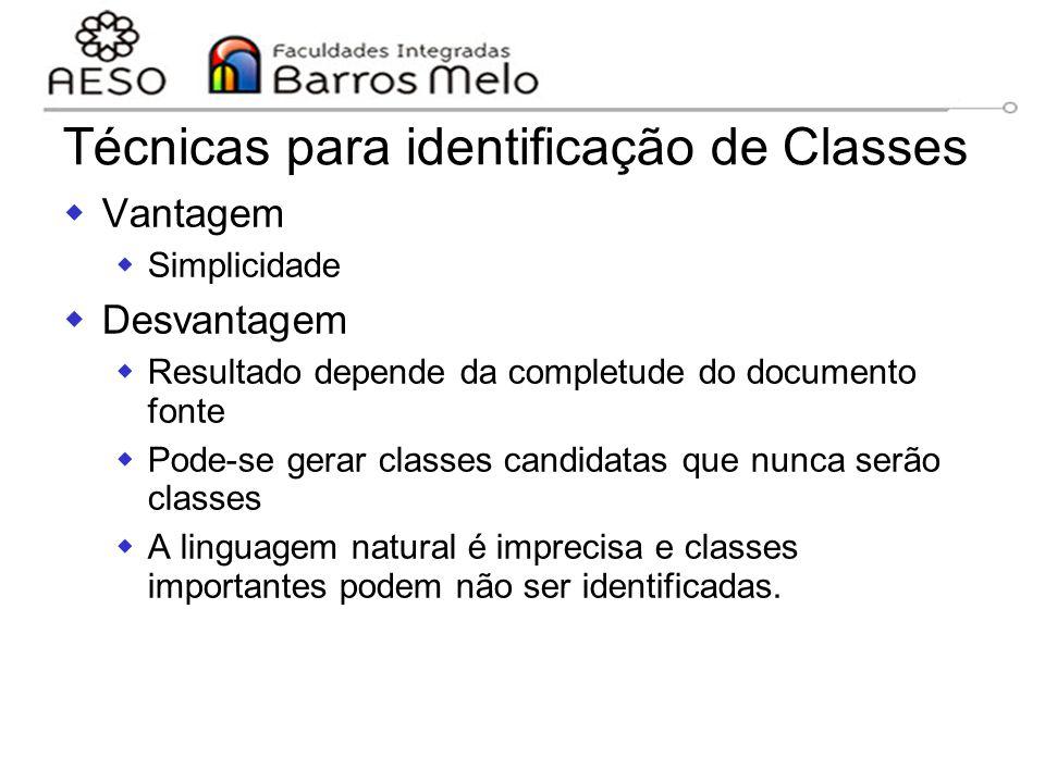 15/8/2014Engenharia de software orientada a objetos 106 Técnicas para identificação de Classes  Vantagem  Simplicidade  Desvantagem  Resultado dep