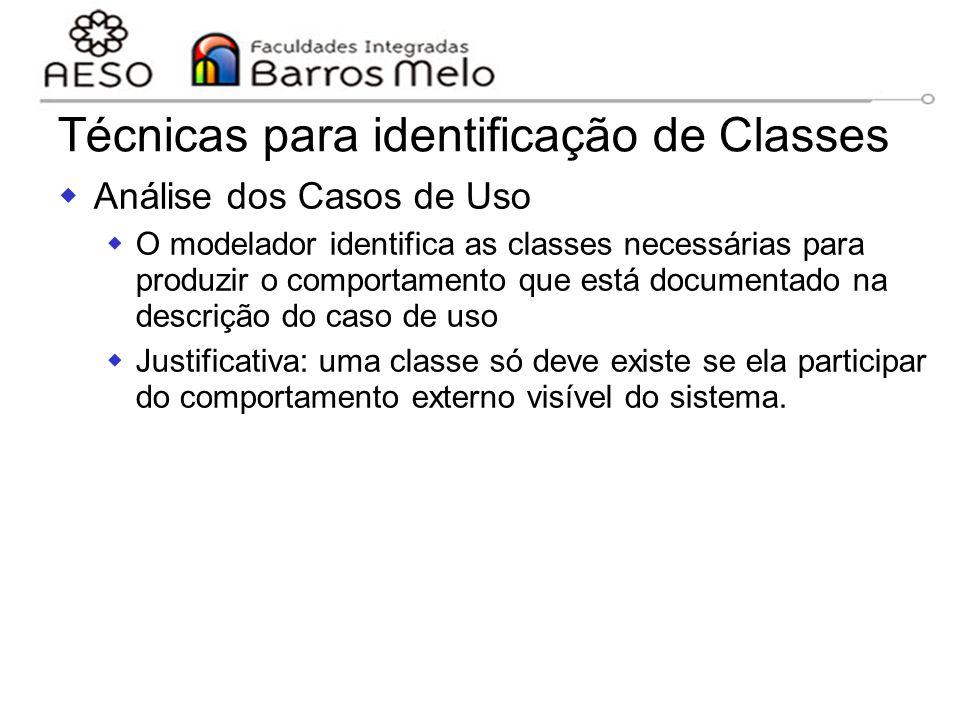 15/8/2014Engenharia de software orientada a objetos 107 Técnicas para identificação de Classes  Análise dos Casos de Uso  O modelador identifica as