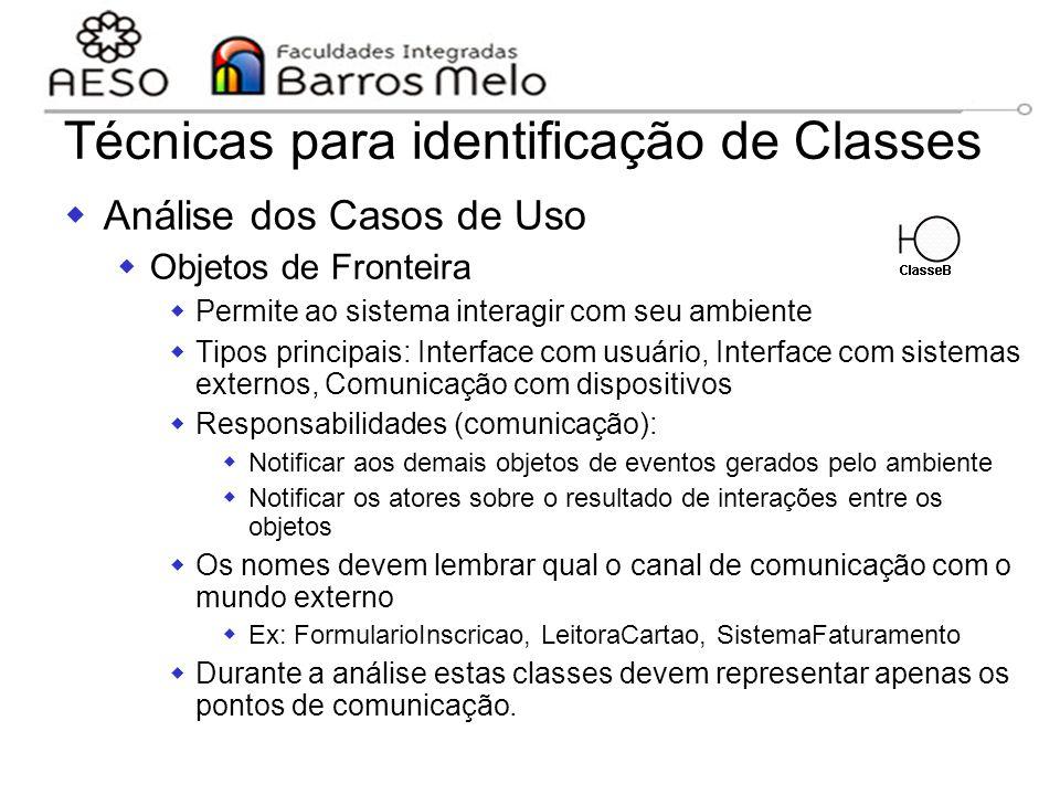 15/8/2014Engenharia de software orientada a objetos 110 Técnicas para identificação de Classes  Análise dos Casos de Uso  Objetos de Fronteira  Per