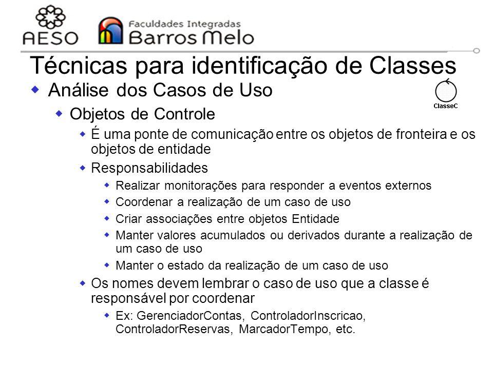 15/8/2014Engenharia de software orientada a objetos 111 Técnicas para identificação de Classes  Análise dos Casos de Uso  Objetos de Controle  É um