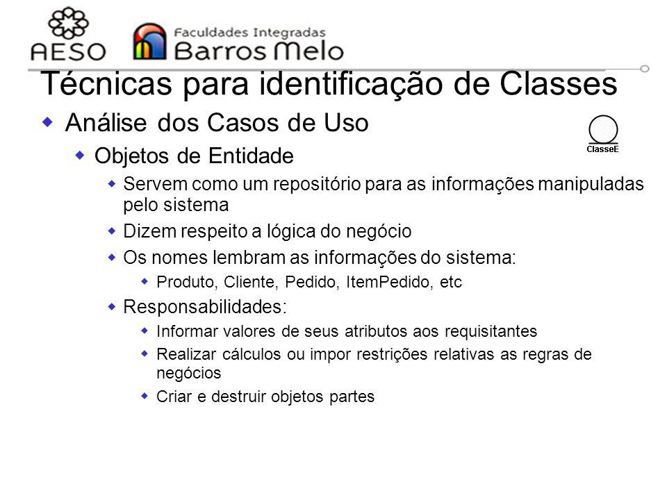 15/8/2014Engenharia de software orientada a objetos 112 Técnicas para identificação de Classes  Análise dos Casos de Uso  Objetos de Entidade  Serv