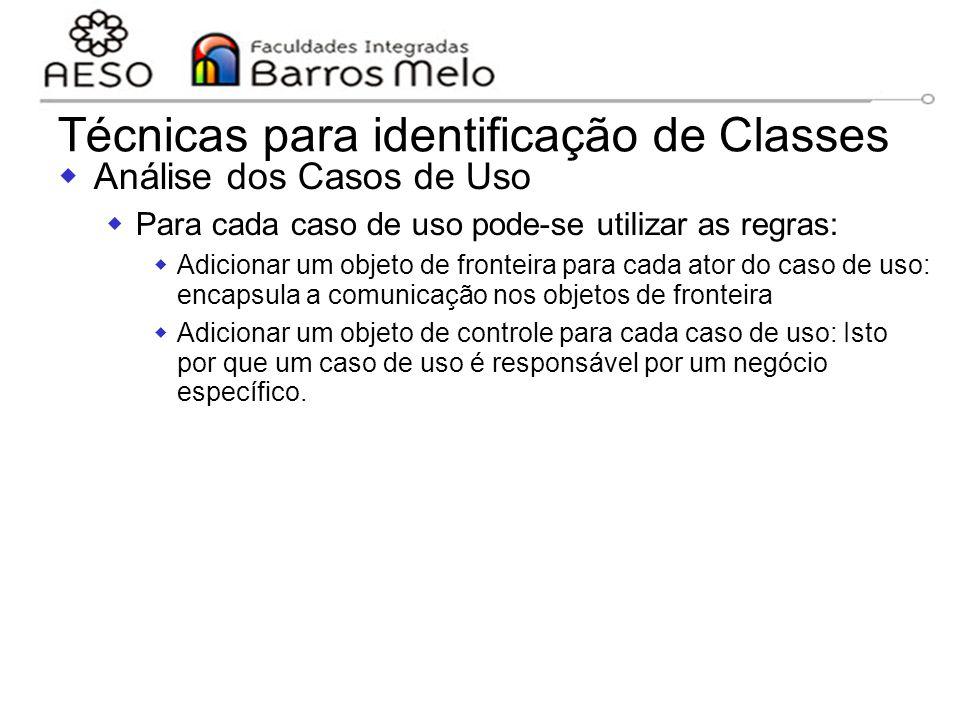 15/8/2014Engenharia de software orientada a objetos 113 Técnicas para identificação de Classes  Análise dos Casos de Uso  Para cada caso de uso pode