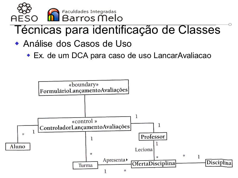 15/8/2014Engenharia de software orientada a objetos 115 Técnicas para identificação de Classes  Análise dos Casos de Uso  Ex. de um DCA para caso de