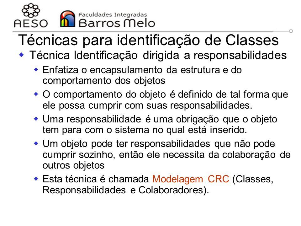 15/8/2014Engenharia de software orientada a objetos 116 Técnicas para identificação de Classes  Técnica Identificação dirigida a responsabilidades 
