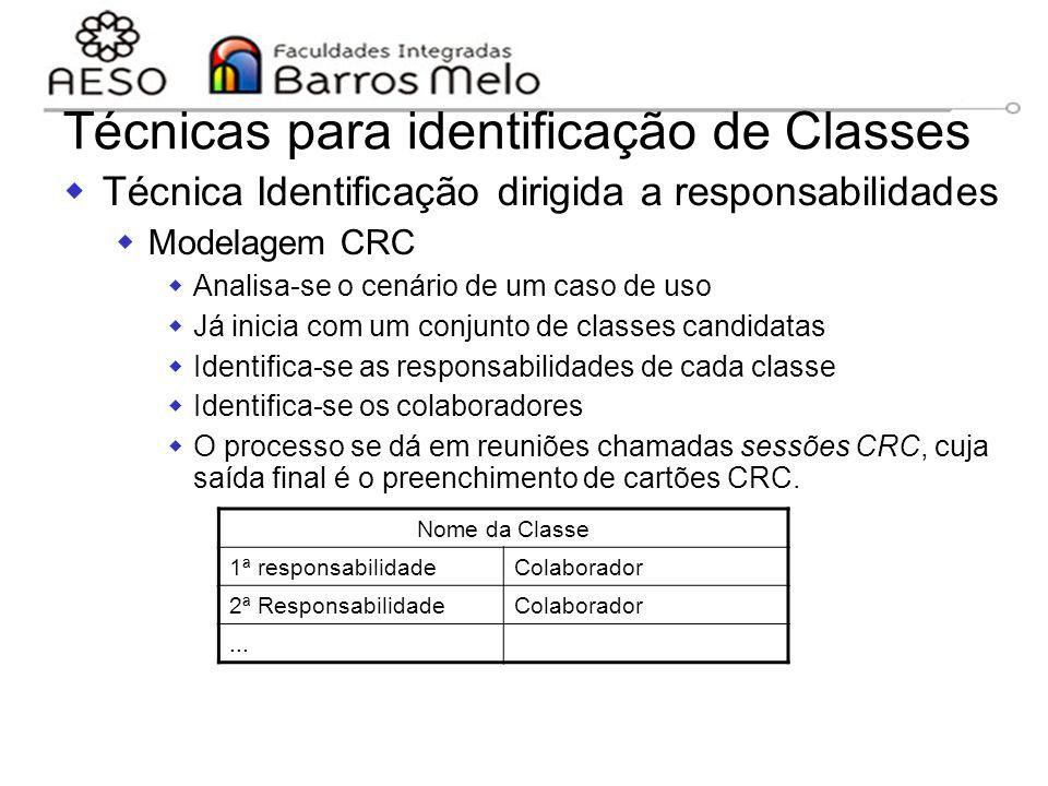 15/8/2014Engenharia de software orientada a objetos 117 Técnicas para identificação de Classes  Técnica Identificação dirigida a responsabilidades 
