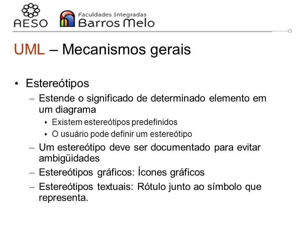 15/8/2014Engenharia de software orientada a objetos 13 UML – Mecanismos gerais Estereótipos – Estende o significado de determinado elemento em um diag