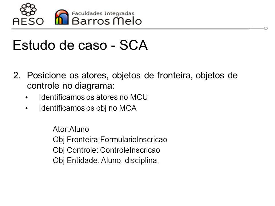Estudo de caso - SCA 2.Posicione os atores, objetos de fronteira, objetos de controle no diagrama: Identificamos os atores no MCU Identificamos os obj