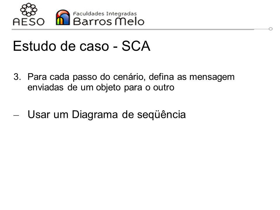 Estudo de caso - SCA 3.Para cada passo do cenário, defina as mensagem enviadas de um objeto para o outro – Usar um Diagrama de seqüência 15/8/2014Enge