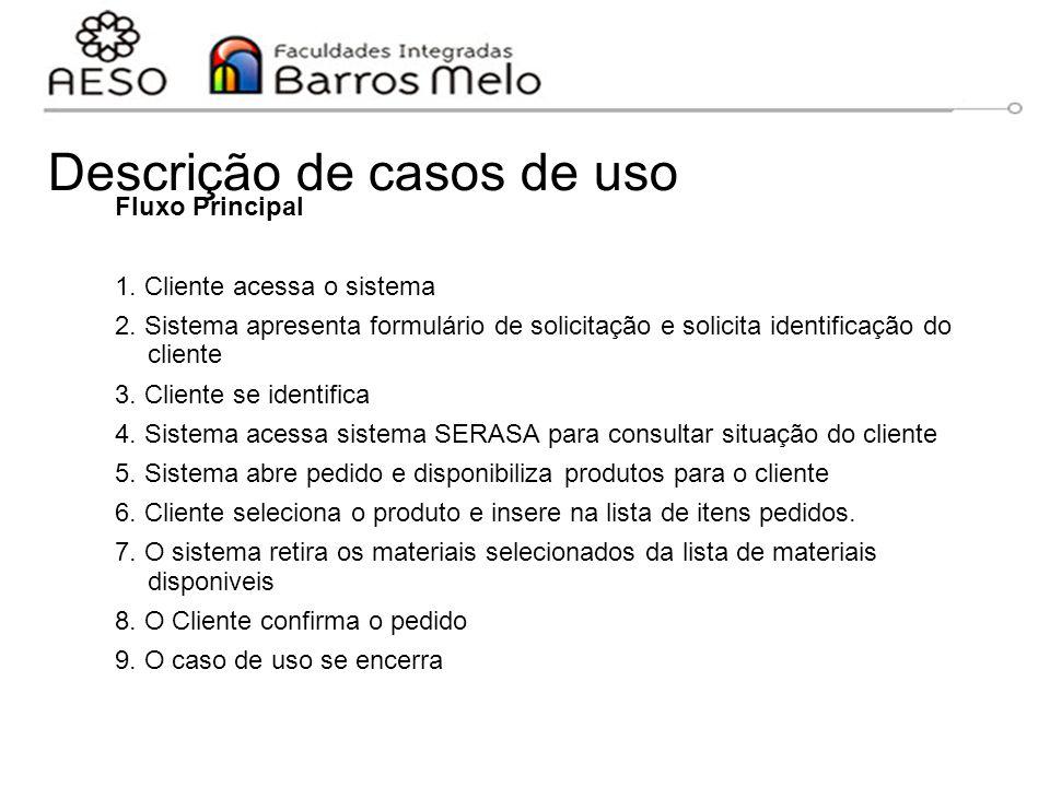 Descrição de casos de uso Fluxo Principal 1. Cliente acessa o sistema 2. Sistema apresenta formulário de solicitação e solicita identificação do clien