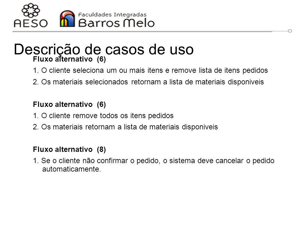 Descrição de casos de uso Fluxo alternativo (6) 1. O cliente seleciona um ou mais itens e remove lista de itens pedidos 2. Os materiais selecionados r