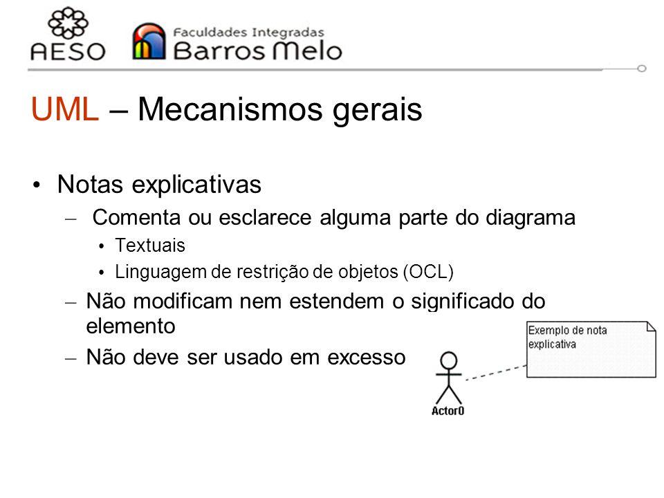 15/8/2014Engenharia de software orientada a objetos 15 UML – Mecanismos gerais Notas explicativas – Comenta ou esclarece alguma parte do diagrama Text