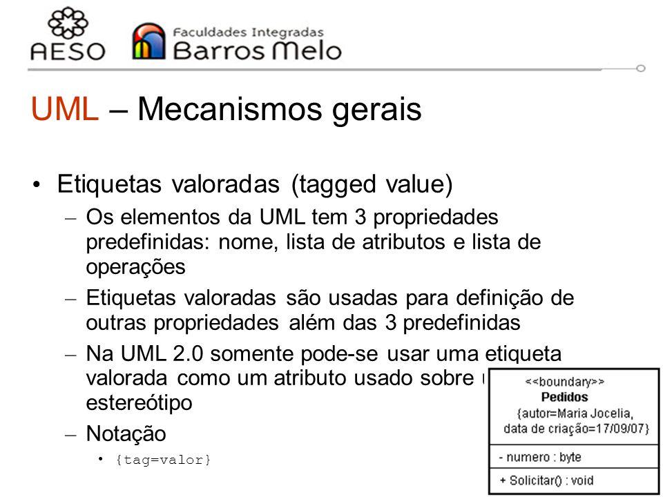 15/8/2014Engenharia de software orientada a objetos 16 UML – Mecanismos gerais Etiquetas valoradas (tagged value) – Os elementos da UML tem 3 propried