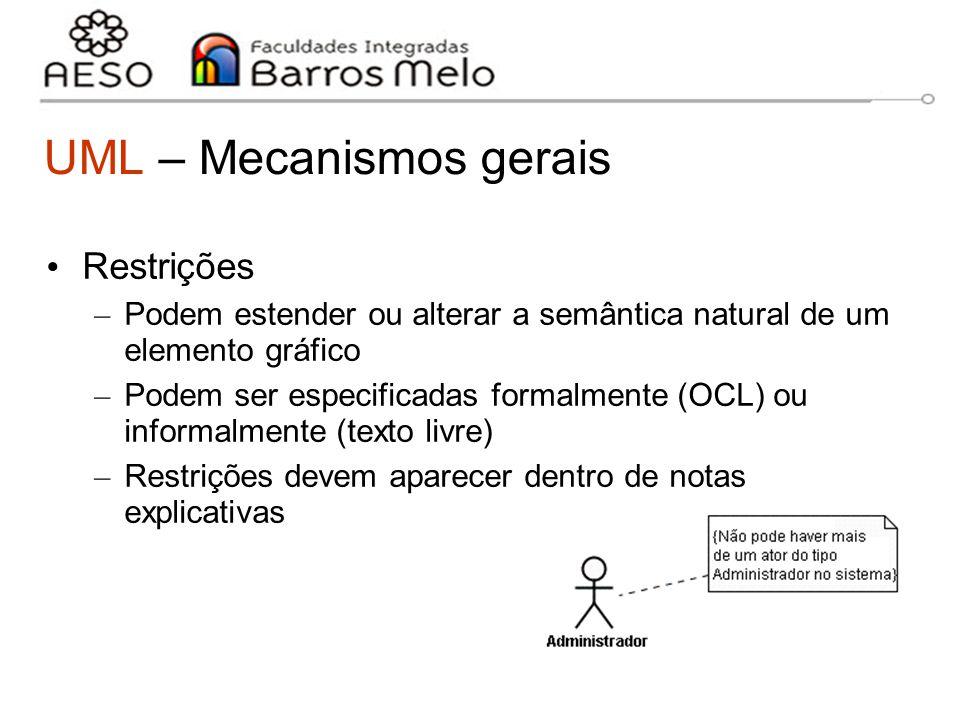 15/8/2014Engenharia de software orientada a objetos 17 UML – Mecanismos gerais Restrições – Podem estender ou alterar a semântica natural de um elemen