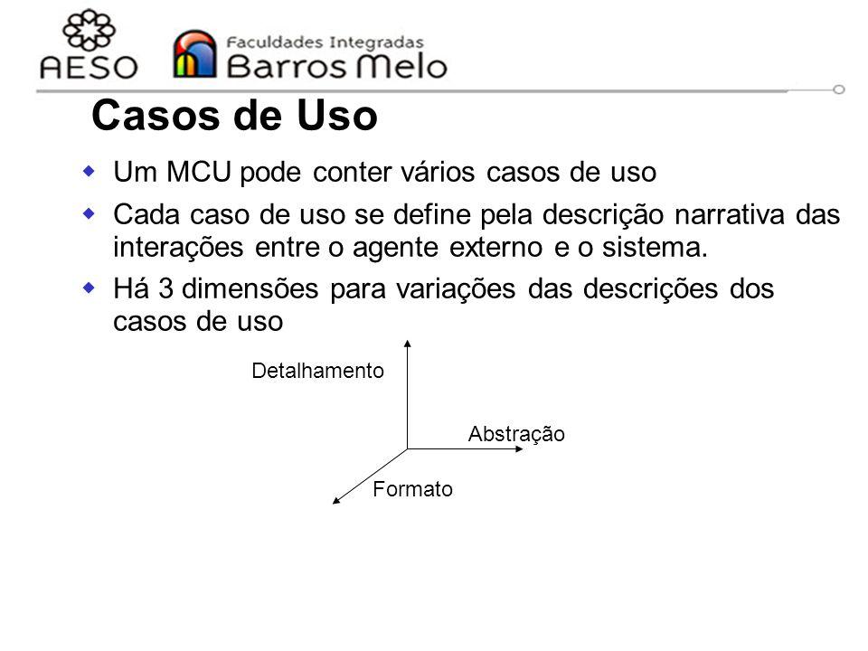 15/8/201425  Um MCU pode conter vários casos de uso  Cada caso de uso se define pela descrição narrativa das interações entre o agente externo e o s