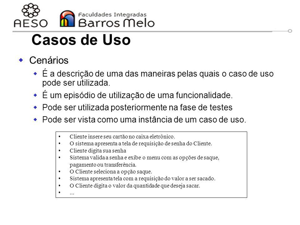 15/8/2014Engenharia de software orientada a objetos 30  Cenários  É a descrição de uma das maneiras pelas quais o caso de uso pode ser utilizada. 