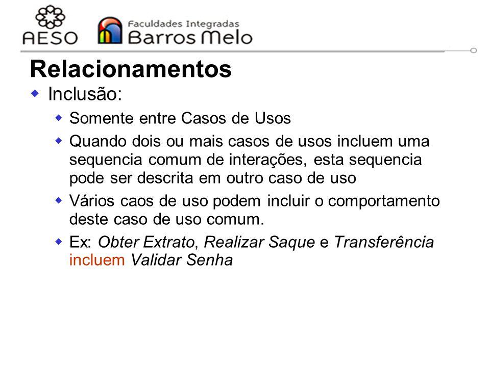 15/8/2014Engenharia de software orientada a objetos 35  Inclusão:  Somente entre Casos de Usos  Quando dois ou mais casos de usos incluem uma seque