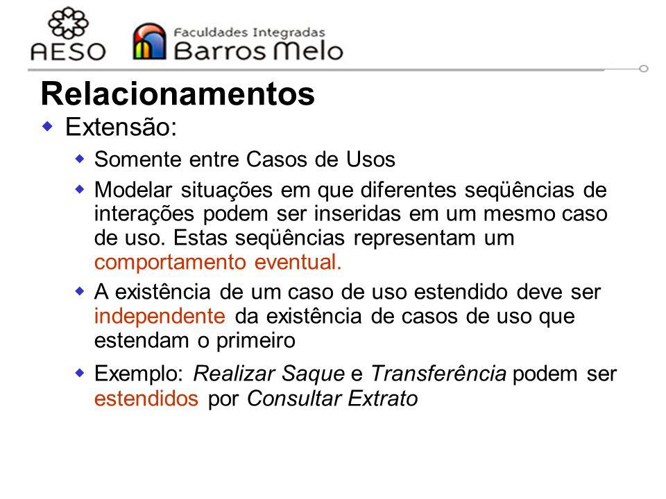 15/8/2014Engenharia de software orientada a objetos 37  Extensão:  Somente entre Casos de Usos  Modelar situações em que diferentes seqüências de i