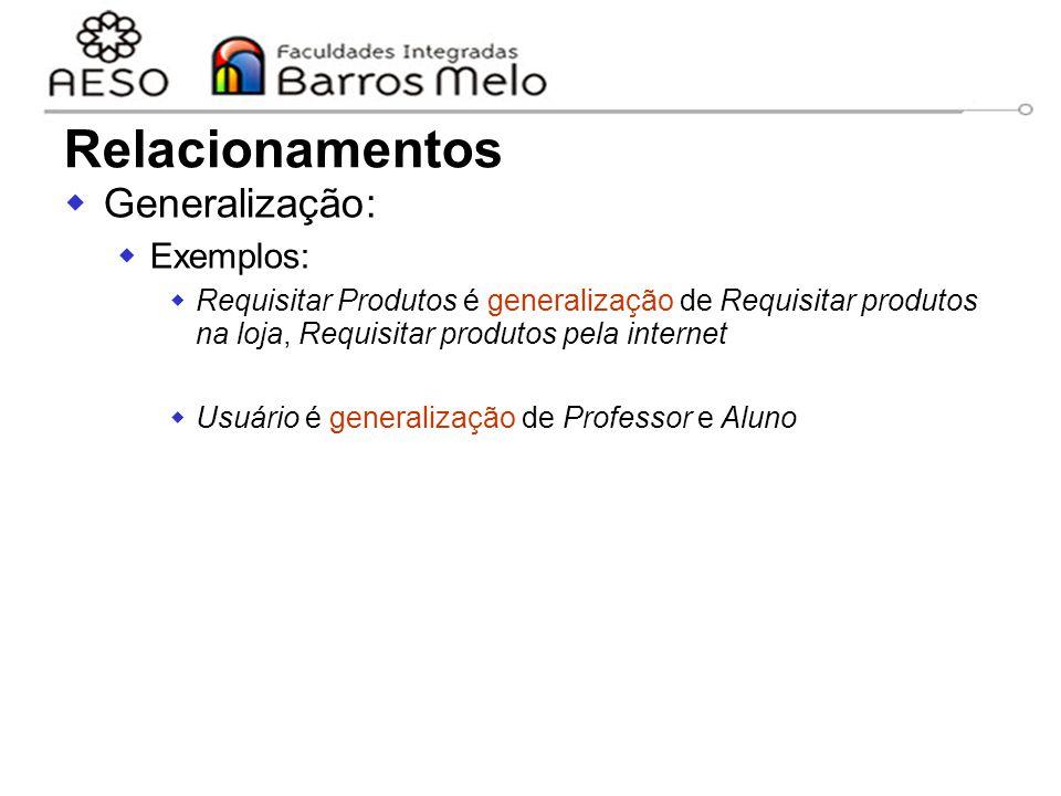 15/8/2014Engenharia de software orientada a objetos 40  Generalização:  Exemplos:  Requisitar Produtos é generalização de Requisitar produtos na lo